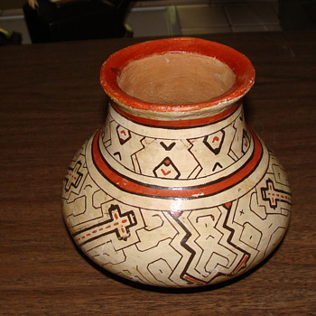 Antique Native American Pot with  tall crosses