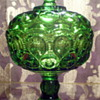 Green L. E. Smith Moon &amp; Stars Candy Dish with Pedestal Base and Lid