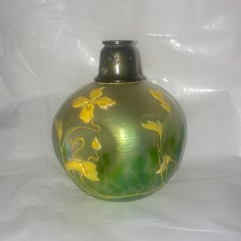 Loetz Ciselé?  Kralik? Iridized Enamelled Pinched Perfume Bottle  - Art Nouveau