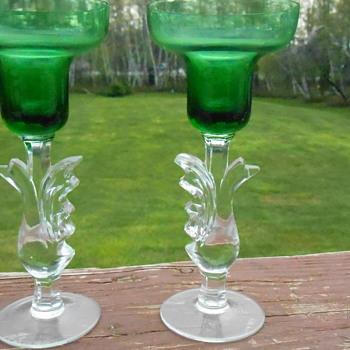 Art Glass Candlesticks - Art Glass
