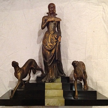 1930's French Bronze Lady with Greyhounds on Marble.