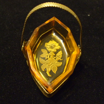 "Art Nouveau/Deco Intaglio ""ROSE"" Salt Cellar with Individual Metal ""Panier"""