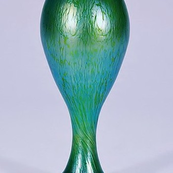 Loetz Crete Papillon Vase with Blue Iridescence.