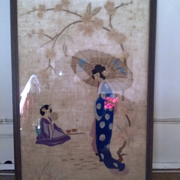 JAPANESE SILK FRAMED PICTURE