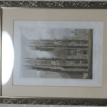 Origional 1819 York Minster Engraved Print hand Colored by Edward Blake