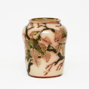 Large marble glaze L. Hjorth vase - Art Pottery