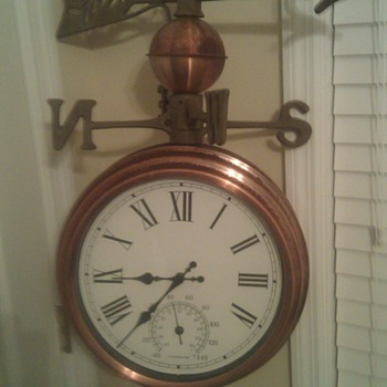 weathervane/ double sided clock/ temperature gauge - Folk Art