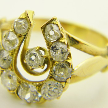 Antique Georgian Diamond Horseshoe 18k Ring 1.65CTW - Fine Jewelry