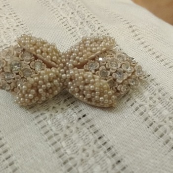 Grandmother's pearl/rhinestone bow pin