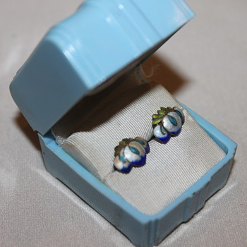 Pretty Blue Jewelry Box and Silver Enamel Earrings - Fine Jewelry
