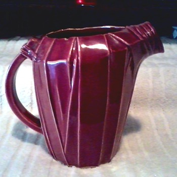Burgundy McCoy Art Deco Strap Design Pitcher / Marked McCoy / Circa 1940's - Art Pottery