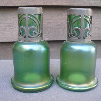 Iridescent green vases  - Art Glass