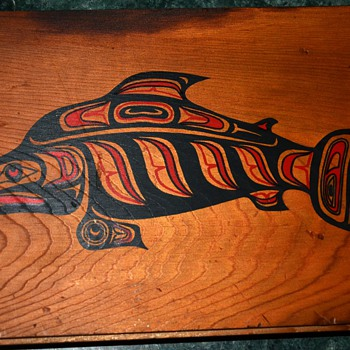 Wood panel w/ Northwest Indian Art - Sockeye Salmon box cover - Native American