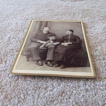 Cabinet card of Vermont couple with HUGE dog c. 1880 - Photographs