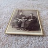 Cabinet card of Vermont couple with HUGE dog c. 1880