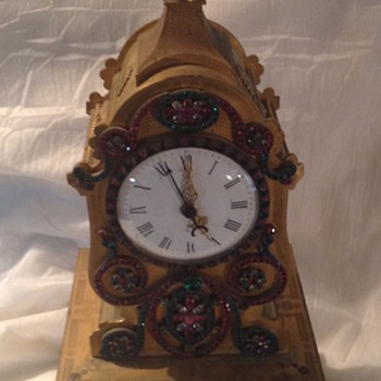 Mantel Clock - heavy brass chimes with spinning jewels