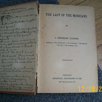 Book The Last of the Mohicans with Christmas note in it  - Books