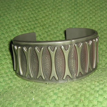1950's? pewter cuff Brodene Mylius, Norway - Fine Jewelry