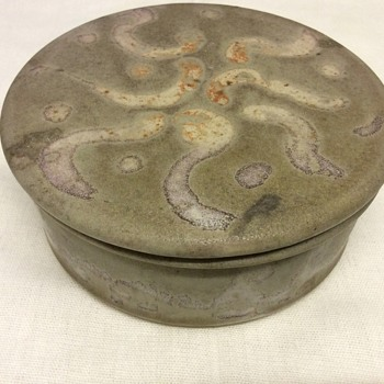 Vintage stoneware studio lidded bowl