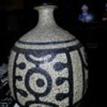 Unknown Stoneware Vase covered with Volcanic navy and gray glaze. - Art Pottery
