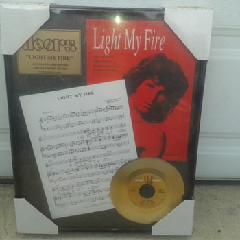 New 1999 The Doors Light My Fire 24KT Gold-Plated Record w/sheet music