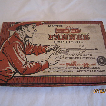 1958 Mattel Toymakers Shootin Shell Fanner Cap Pistol Gun With Original Box - Toys