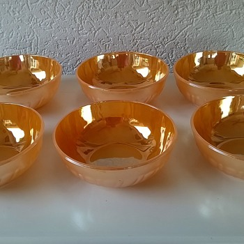 Six 1960s/1970s Thermocrisa Mexico Peach Lustreware Cereal Bowls $2.50