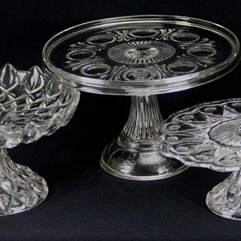 Fostoria Glass Co. Cake Stands: 1229-Frisco, c.1904; 603-Robin Hood, c.1898; 1121-Louise, c.1901