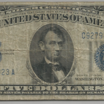 Inverted Back - 1934 5-dollar US Silver Certificate Bill - US Paper Money