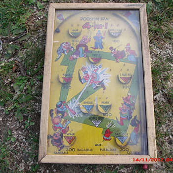 My old 1946 Poosh-m-Up jr. Bagatelle table top pinball game
