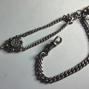 Silver Watch chain with crafted bead fob