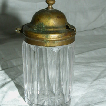 Antique Silver & Crystal Matches Jar