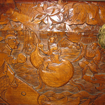 Cedar (?) Chest - Asian Carving