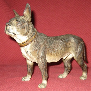 Vintage Cold Painted Zinc Spelter Terrier