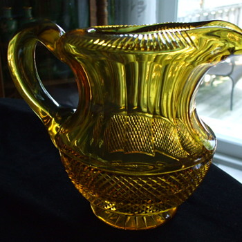 Unusual Rolled & Cut Rim Anglo-Irish? or Bohemian? Honey Amber Cut Glass PITCHER