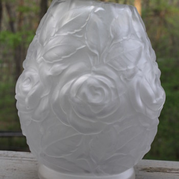 Made in France?  Satin glass vase with Roses