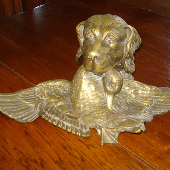 Antique Solid Bronze Duck Hunting Dog Inkwell