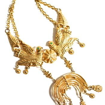 Large Etruscan Cadoro Bird Necklace - Costume Jewelry