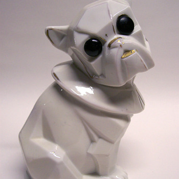 Porcelain Cubist Dog Harlequin Button Eye with String