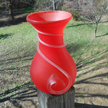 Red Red Satin Glass Vase with Clear Satin Threading Chinese? American? - Art Glass