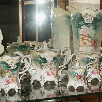RS Prussia teal colored items - China and Dinnerware