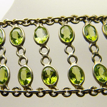 Vintage Antique Deco Peridot Sterling Bracelet  - Fine Jewelry