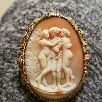 3 graces vintage brooch she'll cameo - Fine Jewelry