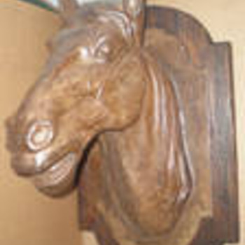 Antique French 1800&#039;s Cast Iron Metal Horse Head Trade Sign