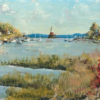 Claude H. Venon Art - 5 Mile River Lighthouse, Rowayton, CT