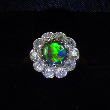 Antique 1ct Black Opal  Ring with 1ct of Diamonds - Fine Jewelry