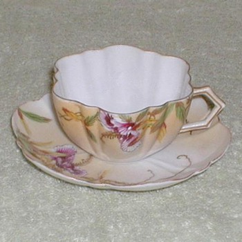 Hand-painted Demitasse Cup &amp; Saucer