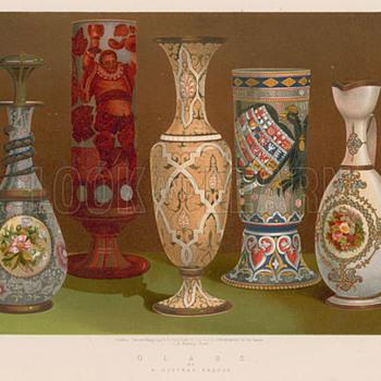 Beautiful 1906 Lithograph Drawings - European Art Glass Selections - Art Glass