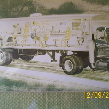 Old photo of Semi with diner painted on side , People look like from 60&#039;s 