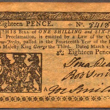Colonial Currency - Novelty Note (New Jersey)